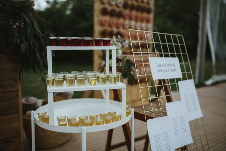 Shots Station For Wedding Guests at Clear Span Marquee Wedding