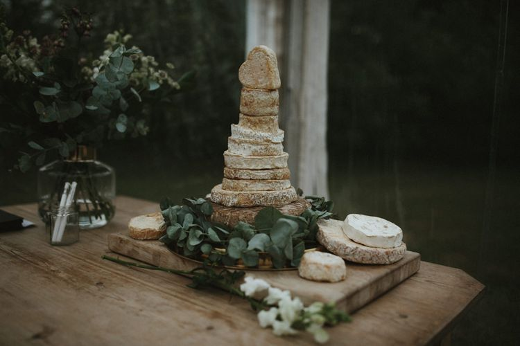 Rust Cheese Tower Wedding Cake for Clear Span Marquee Wedding