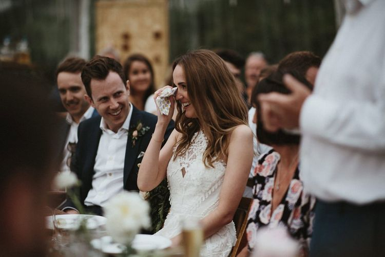 Emotional Wedding Speeches in Clear Span Marquee Reception