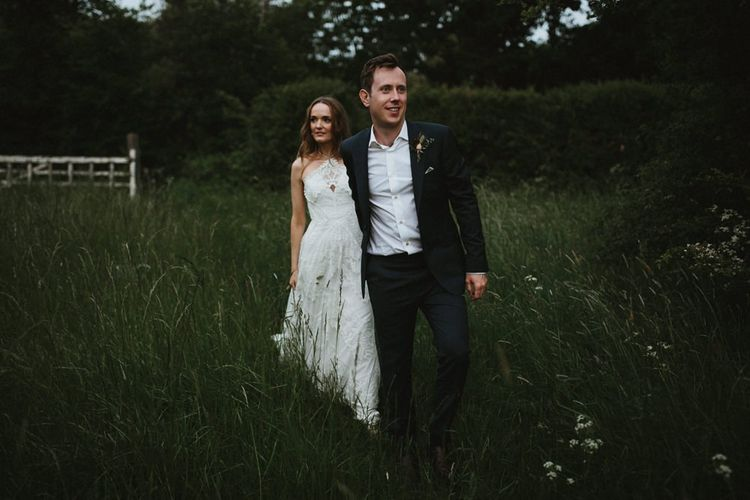 Bride in Lace Wedding Dress For for Clear Span Marquee Wedding
