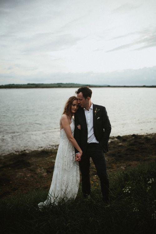 Bride and Groom Coastal Portrait
