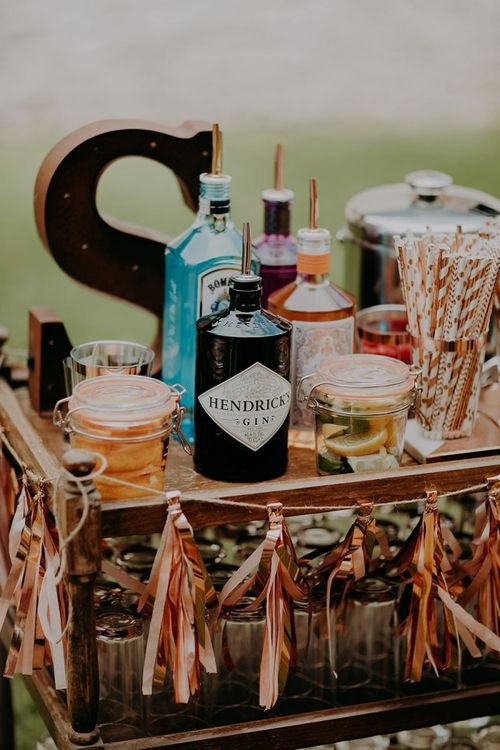DIY gin bar at Tithe Barn Petersfield wedding