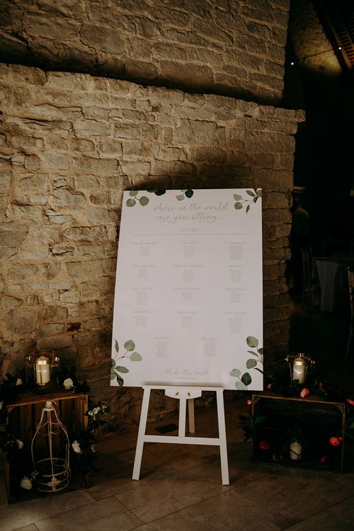 Eucalyptus theme wedding stationery and seating chart