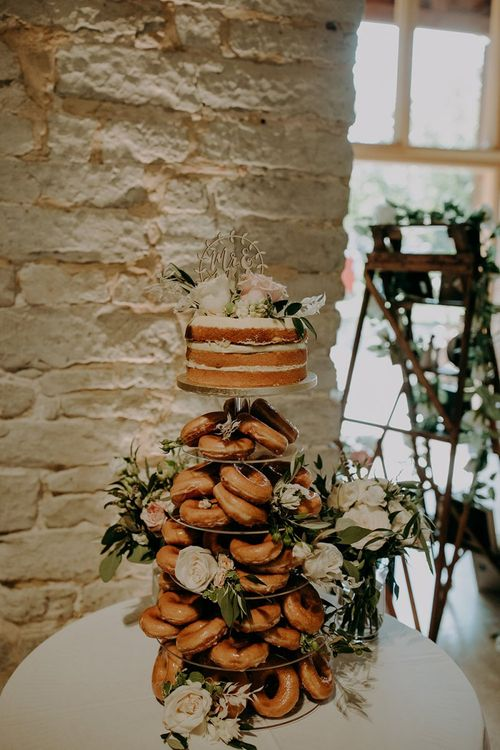 Doughnut wedding cake with M&S cake at top