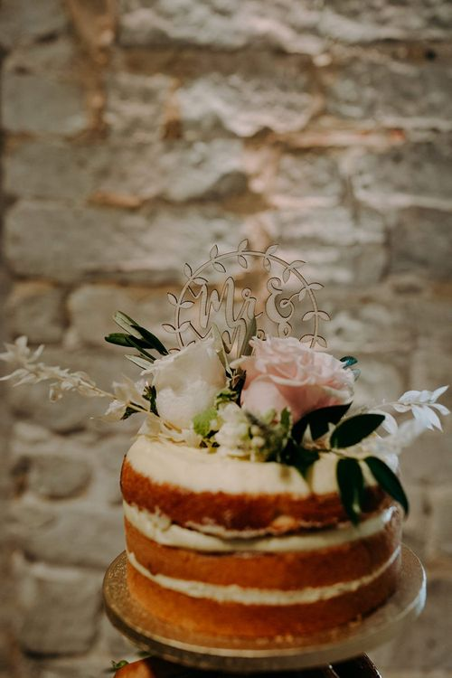M&S wedding cake with flower decor