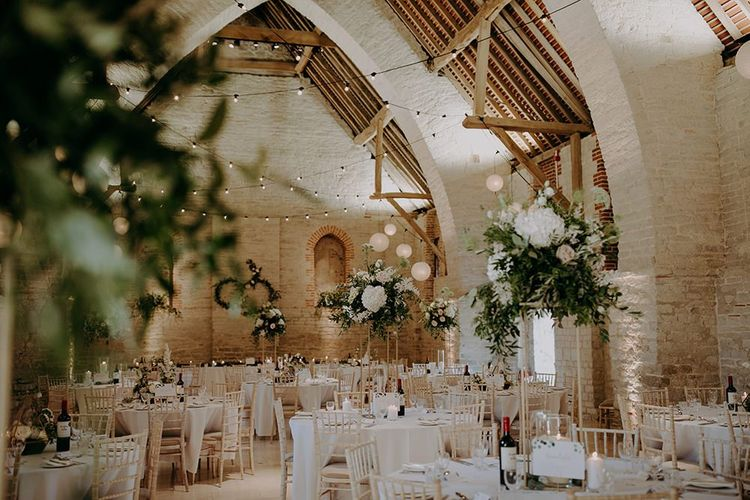 Tithe Barn Petersfield wedding breakfast decor