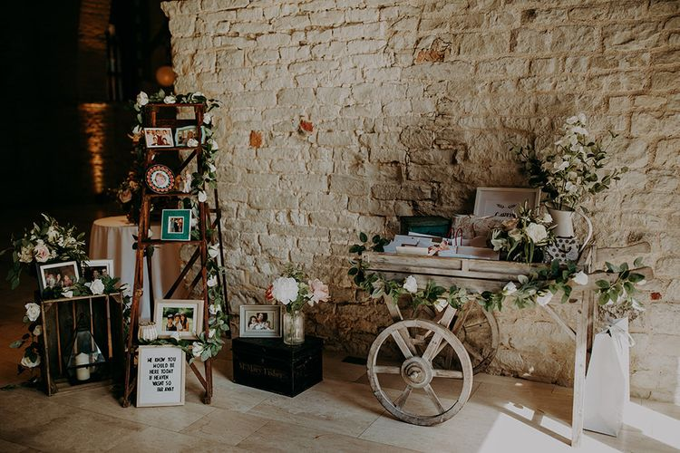 Rustic wedding decor at Tithe Barn Petersfield