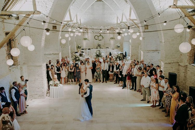 Bride and groom first dance at Tithe Barn Petersfield
