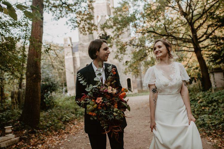 Bride and Groom Autumn Wedding Portrait