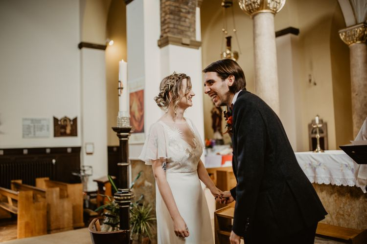 Bride and Groom at their Church Wedding Ceremony