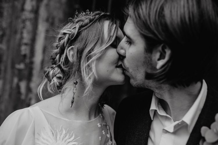 Black and White Bride and Groom Picture Kissing