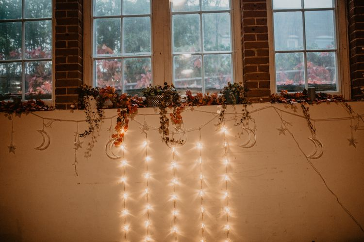 String Lights Wedding Decor with Dried Leaves