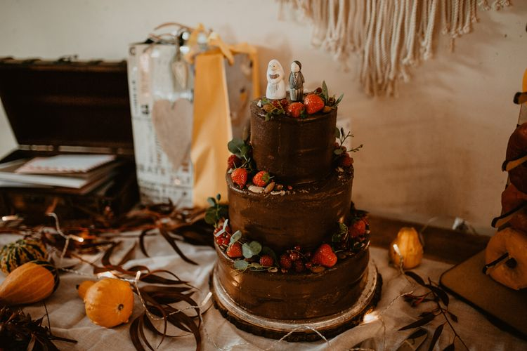 Three Tier Chocolate Wedding Cake with Strawberry Decor