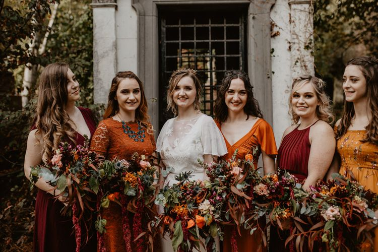 Bridal Party Portrait with Bride in Lace Story of My Dress Bridal Gown