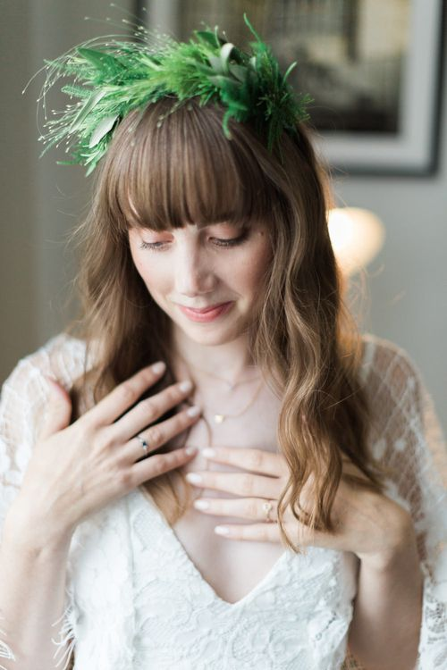 Bride in Grace Loves Lace Verdelle Dress with V-Neck, Low Square Back, Mid-Thigh Front Split and Lace Cape | Foliage Hair Crown | Missoma Necklace | Neon Sign and Marine Green Rewritten Bridesmaids Dresses with Lace Cape Grace Loves Lace Gown | Alain Mbouche Photography