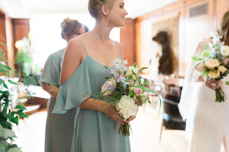 Bridesmaids in Mismatched Marine Green Rewritten Dresses | Pastel Wedding Bouquets | Neon Sign and Marine Green Rewritten Bridesmaids Dresses with Lace Cape Grace Loves Lace Gown | Alain Mbouche Photography