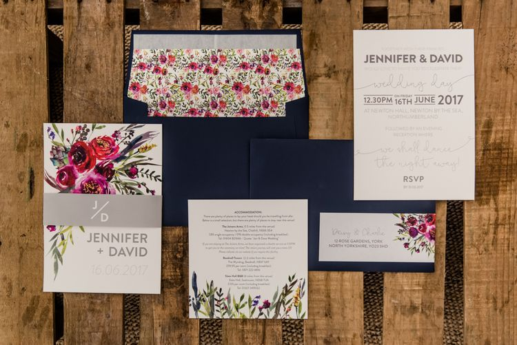 Floral Stationery Suite // Sperry Tent Wedding With Romantic Meadow Inspired Styling