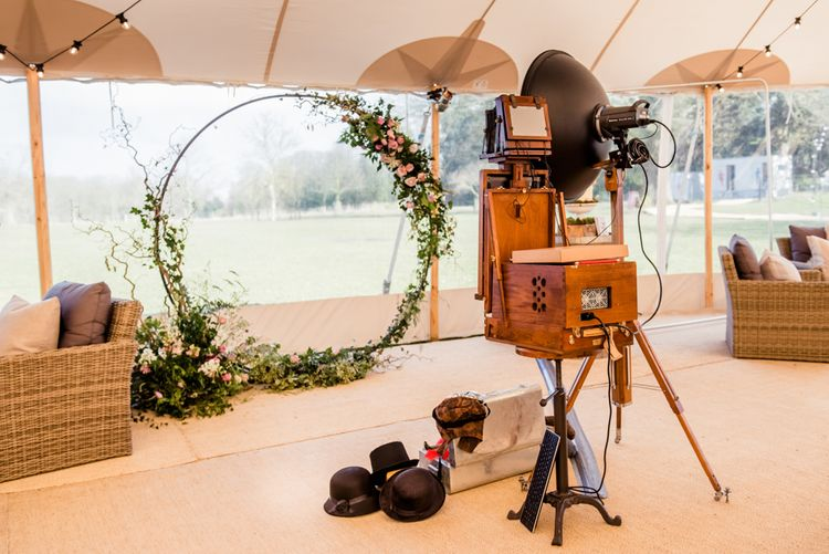 Photo Booth Set Up For Sperry Tent // Sperry Tent Wedding With Romantic Meadow Inspired Styling