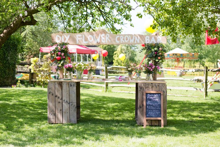 DIY Flower Crown Bar | Spring Wedding Colours for 2019 | Bold & Bright Spring Wedding Inspiration by Helaina Storey Wedding Design | Flowers by Bloomologie | Palette Signs by Made by Wood & Wood | Claire Graham Photography