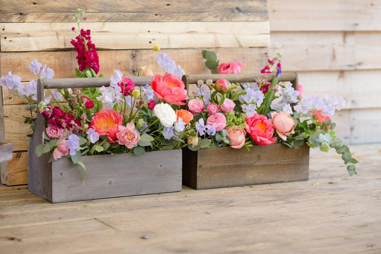 Wooden Crate Floral Arrangement with Pink Peonies | Spring Wedding Colours for 2019 | Bold & Bright Spring Wedding Inspiration by Helaina Storey Wedding Design | Flowers by Bloomologie | Palette Signs by Made by Wood & Wood | Claire Graham Photography