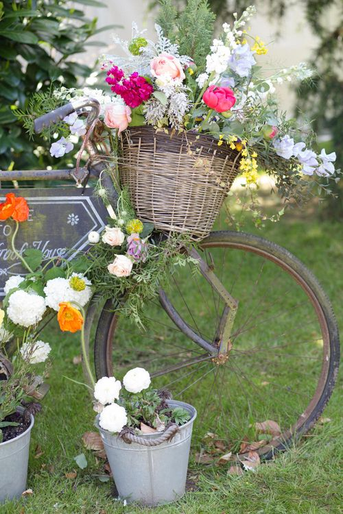 Vintage Bicycle With Wedding Flowers | Spring Wedding Colours for 2019 | Bold & Bright Spring Wedding Inspiration by Helaina Storey Wedding Design | Flowers by Bloomologie | Palette Signs by Made by Wood & Wood | Claire Graham Photography