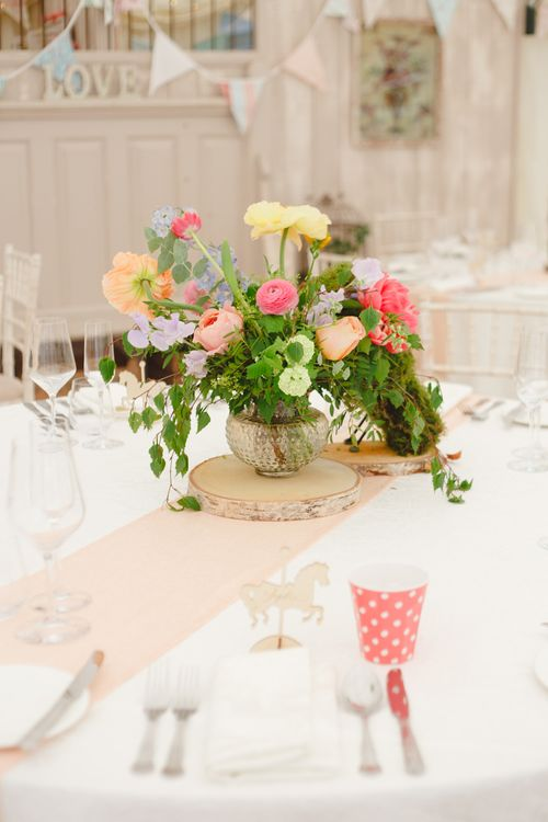 Floral Centrepiece | Spring Wedding Colours for 2019 | Bold & Bright Spring Wedding Inspiration by Helaina Storey Wedding Design | Flowers by Bloomologie | Palette Signs by Made by Wood & Wood | Claire Graham Photography