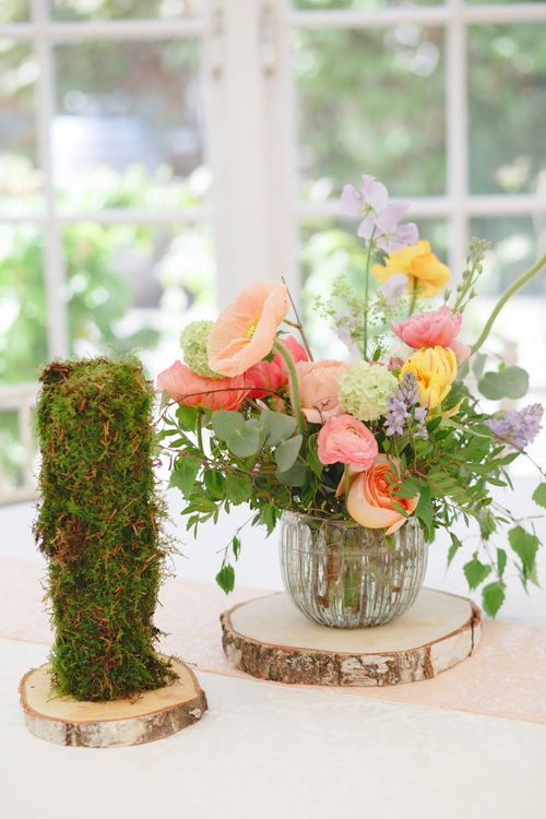 Colourful Floral Centrepiece | Spring Wedding Colours for 2019 | Bold & Bright Spring Wedding Inspiration by Helaina Storey Wedding Design | Flowers by Bloomologie | Palette Signs by Made by Wood & Wood | Claire Graham Photography