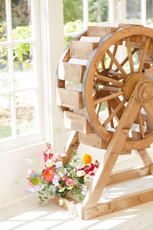 Wooden Mill Wedding Decor | Spring Wedding Colours for 2019 | Bold & Bright Spring Wedding Inspiration by Helaina Storey Wedding Design | Flowers by Bloomologie | Palette Signs by Made by Wood & Wood | Claire Graham Photography