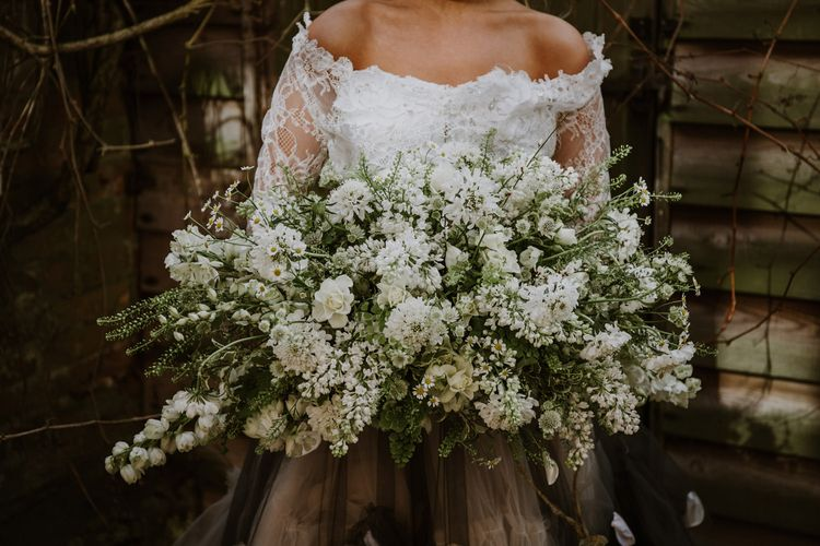 Oversized White & Green Wedding Bouquet | Spring Wedding Colours for 2019 | Pure & Simple White & Green Spring Wedding Inspiration by Forever Blossom | Alexandra Jane Photography