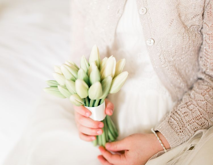 White Tulip Wedding Bouquet | Spring Wedding Colours for 2019 | Pure & Simple White & Green Spring Wedding Inspiration by The Country Flower Company | Summer Lily Photography