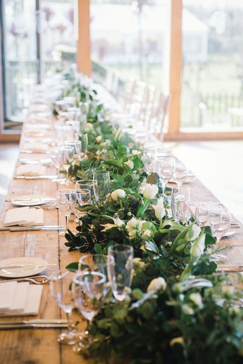 Wedding Banquet Table Floral Garland by Wilde Thyme Wedding Flowers | Spring Wedding Colours for 2019 | Pure & Simple White & Green Spring Wedding Inspiration