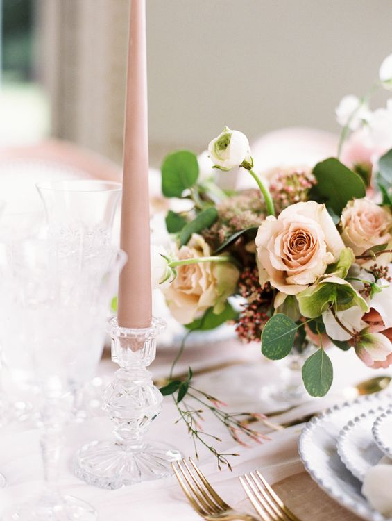 The Timeless Stylist Elegant & Romantic Wedding Styling Cut Glass Candlesticks | Spring Wedding Colours for 2019 |