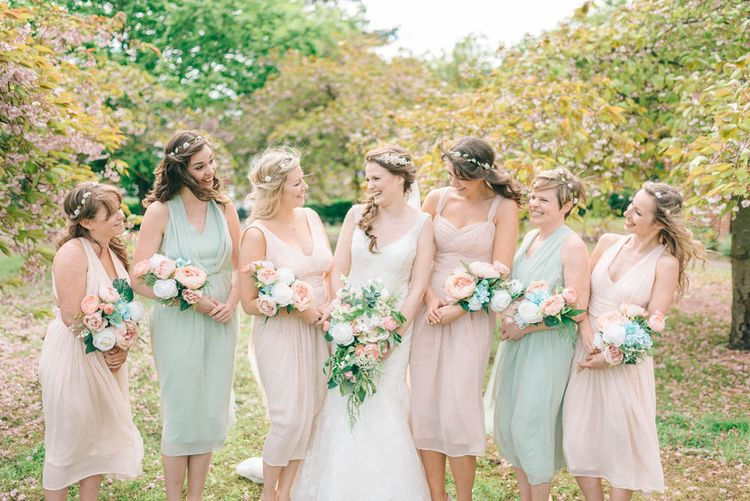 Pastel Bridal Party | Bridesmaids in ASOS Dresses | Preloved Wedding Dress | Spring Wedding Colours for 2019 | Images By Sarah Jane Ethan & Matt Ethan Photography
