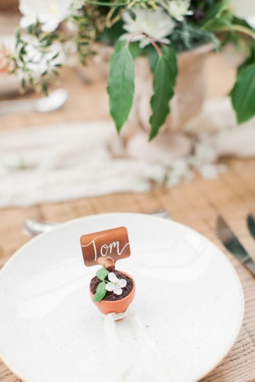 Miniature Flower Pot Place Setting | Spring Wedding Colours for 2019 | Zesty Spring Wedding Inspiration | Spring Wedding by  Weddingcreations UK| Bowtie and Belle Photography