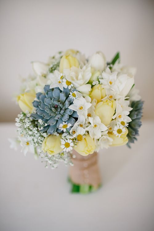 Lemon Tulips, Succulents & White Flower Bouquet | Spring Wedding Colours for 2019 | Zesty Spring Wedding Inspiration | Kate Grey Photography