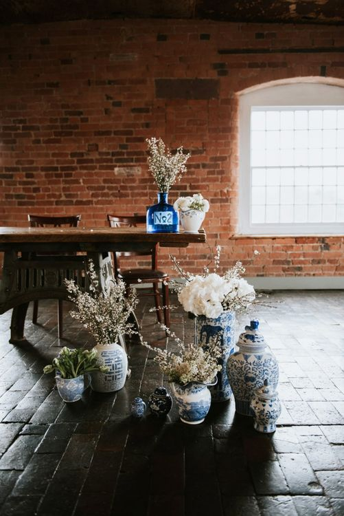 Blue and White Dreft Wedding Vases and Flowers