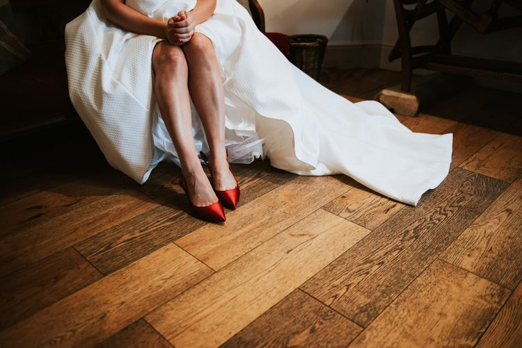 Bride in Red Satin Shoes