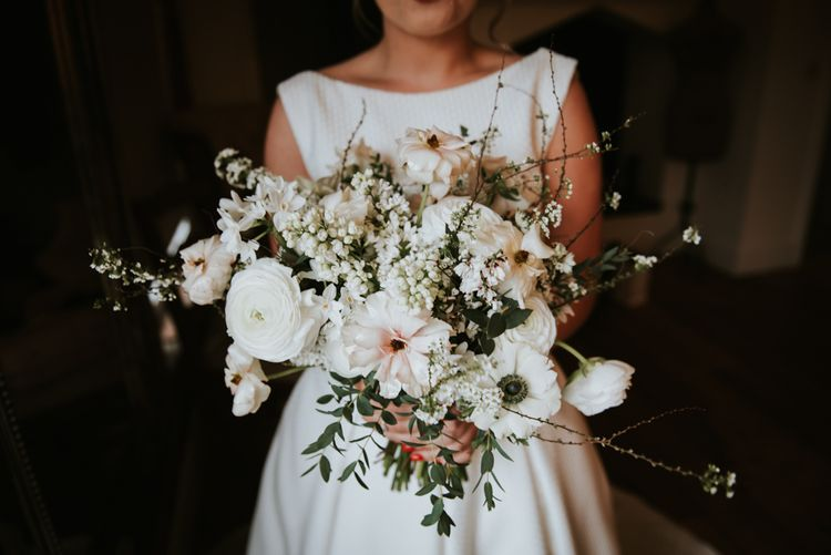 Romantic White Wedding Bouquet with Ranunculus, Anemones and Stocks
