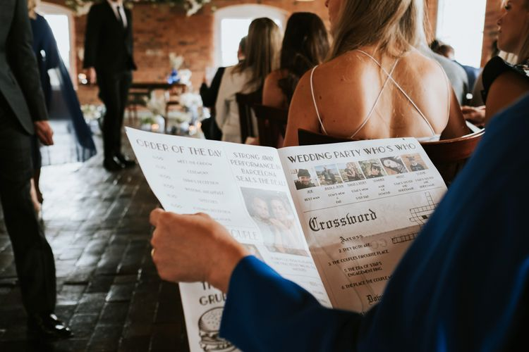 Personalised Wedding Newspaper Order of Service