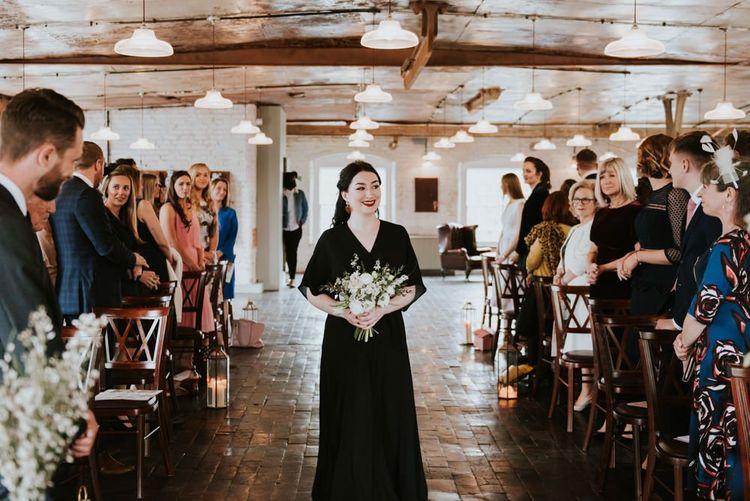 Wedding Ceremony Bridesmaid Entrance in Black Dress