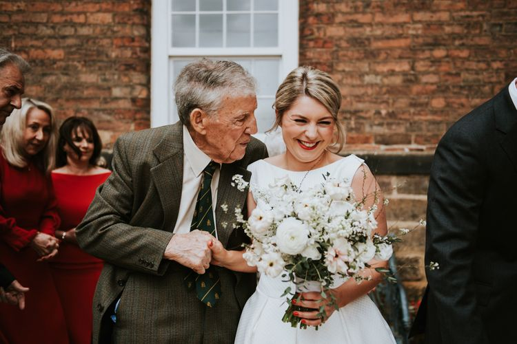 Beautiful Bride with Red Lipstick and Grandad