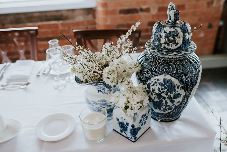 Blue and White Dreft Vases and Vessels Wedding Decor