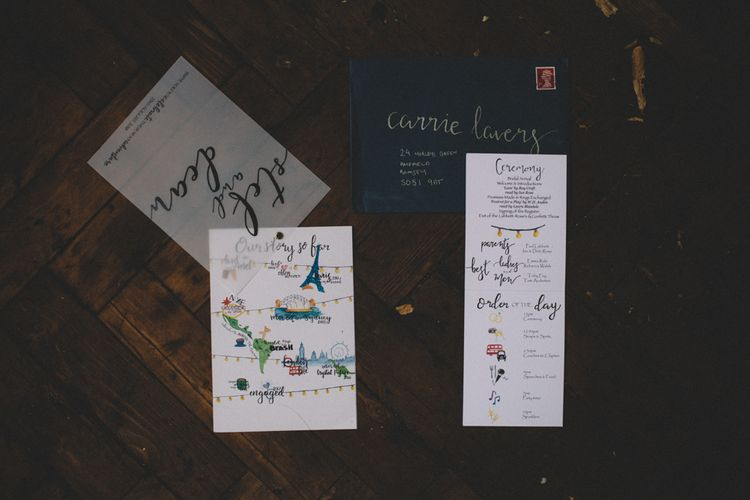 Illustrated Stationery For Wedding // The Clapton Country Club LondonWedding With Bride In Embellished Dress With Images From Carrie Lavers Photography