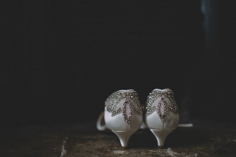 Embellished Kitten Heel Bridal Shoes // The Clapton Country Club LondonWedding With Bride In Embellished Dress With Images From Carrie Lavers Photography