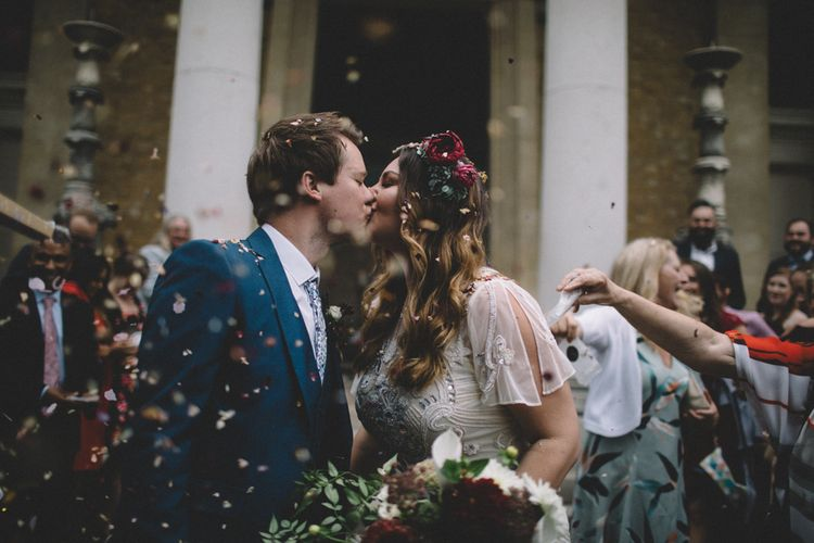 Just Married Confetti Shot // The Clapton Country Club LondonWedding With Bride In Embellished Dress With Images From Carrie Lavers Photography