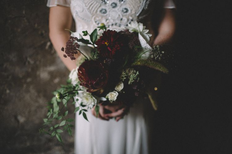 Protea Wedding Bouquet // The Clapton Country Club LondonWedding With Bride In Embellished Dress With Images From Carrie Lavers Photography