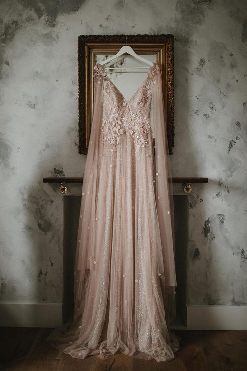 Blush Pink Embellished Wedding Dress By Julita London // Image By James Frost Photography