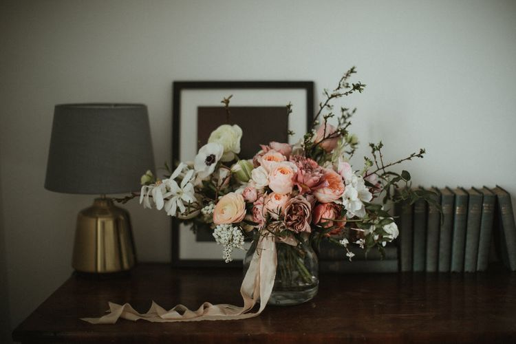 Rose, Ranunculus, Anemone And Blossom Wedding Bouquet By 3acre Blooms // Image By James Frost Photography
