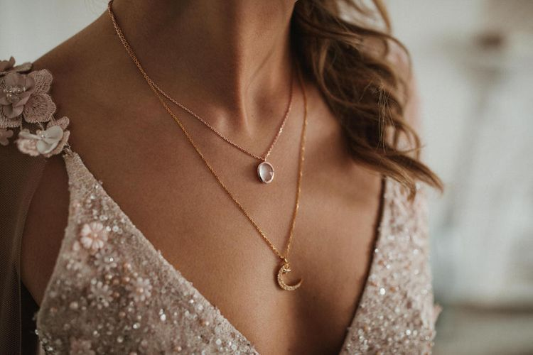 Crescent Moon Necklace From Carrie Elizabeth Jewellery // Image By James Frost Photography