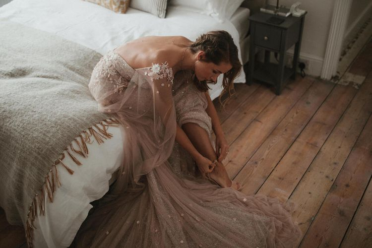Blush Pink Tulle Wedding Dress By Julita London // Image By James Frost